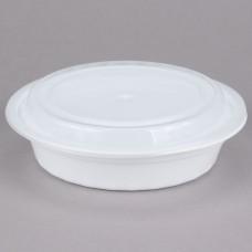 Contenedor plastico redondo Blanco con tapa 24 onzas