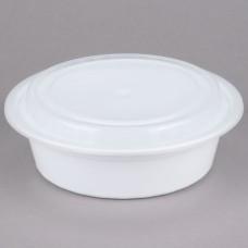 Contenedor Plastico Redondo Blanco Con Tapa 32 Onzas