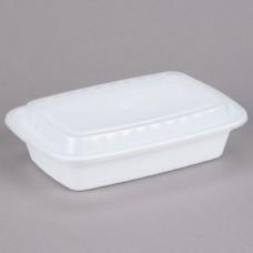 Contenedor Plastico Rectangular Blanco Con Tapa 12 Onzas