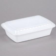 Contenedor Plastico Rectangular Blanco Con Tapa 38 Onzas